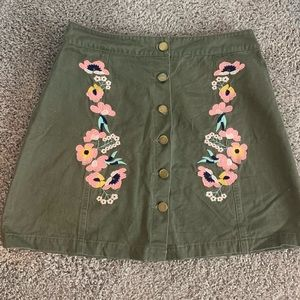 Green Embroidered Mini Skirt with Buttons